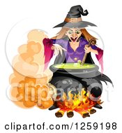 Clipart Of An Evil Witch Mixing A Spell In A Cauldron Royalty Free Vector Illustration