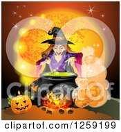 Clipart Of An Evil Witch Mixing A Spell In A Cauldron Over An Orange Full Moon Royalty Free Vector Illustration