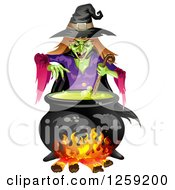 Clipart Of An Evil Green Witch Mixing A Spell In A Cauldron Royalty Free Vector Illustration