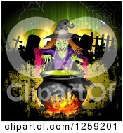 Clipart Of An Evil Green Witch Mixing A Spell In A Cauldron Over A Cemetery And Grunge Royalty Free Vector Illustration