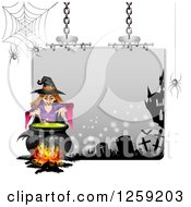 Clipart Of An Evil Green Witch Mixing A Spell At A Cauldron Over A Halloween Sign Royalty Free Vector Illustration by merlinul