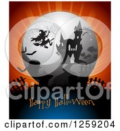 Clipart Of A Flying Witch Over A Haunted Mansion With Happy Halloween Text Royalty Free Vector Illustration