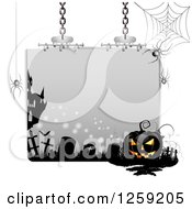 Clipart Of A Halloween Sign With A Jackolantern Tombstones And Spider Webs Royalty Free Vector Illustration