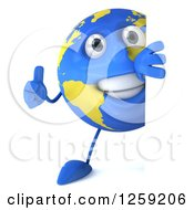 Clipart Of A 3d Happy Earth Character Giving A Thumb Up Around A Sign Royalty Free Illustration