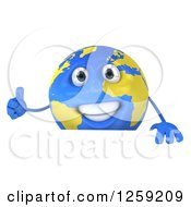 Clipart Of A 3d Happy Earth Character Giving A Thumb Up Over A Sign Royalty Free Illustration