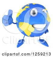 Clipart Of A 3d Happy Earth Character Giving A Thumb Up Royalty Free Illustration