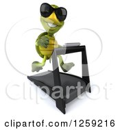Clipart Of A 3d Tortoise Turtle Wearing Sunglasses And Running On A Treadmill Royalty Free Illustration