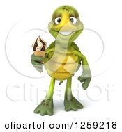 Clipart Of A 3d Tortoise Holding An Ice Cream Cone Royalty Free Illustration