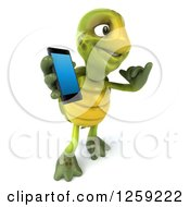 Clipart Of A 3d Tortoise Gesturing Call Me And Holding A Cell Phone Royalty Free Illustration