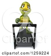 Clipart Of A 3d Tortoise Turtle Running On A Treadmill Royalty Free Illustration