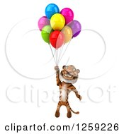 Clipart Of A 3d Tiger Floating With Colorful Party Balloons Royalty Free Illustration