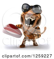 Clipart Of A 3d Tiger Wearing Sunglasses Roaring And Holding A Beef Steak Royalty Free Illustration