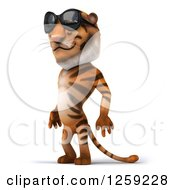 Clipart Of A 3d Tiger Wearing Sunglasses And Facing Left Royalty Free Illustration