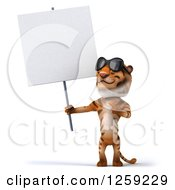 Clipart Of A 3d Tiger Wearing Sunglasses And Holding Up A Blank Sign Royalty Free Illustration