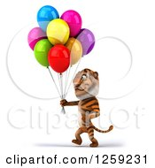 Clipart Of A 3d Tiger With Colorful Party Balloons Royalty Free Illustration