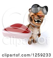 Clipart Of A 3d Tiger Wearing Sunglasses And Holding A Beef Steak Royalty Free Illustration