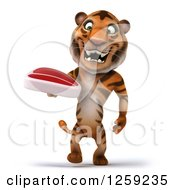 Clipart Of A 3d Tiger Walking And Holding A Beef Steak Royalty Free Illustration