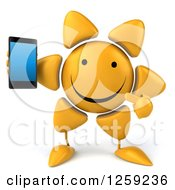 Clipart Of A 3d Happy Sun Character Holding A Cell Phone Royalty Free Illustration