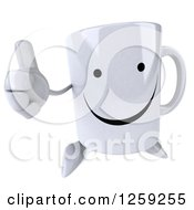 Clipart Of A 3d Happy Coffee Mug Holding A Thumb Up Royalty Free Illustration