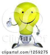 Clipart Of A 3d Yellow Light Bulb Character Holding A Thumb Up Royalty Free Illustration