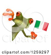 Clipart Of A 3d Green Springer Frog Holding An Italian Flag Around A Sign Royalty Free Illustration