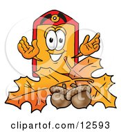 Price Tag Mascot Cartoon Character With Autumn Leaves And Acorns In The Fall