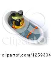 Clipart Of A 3d Green Business Springer Frog Wearing Sunglasses And Sitting In A Tub With An Inner Tube Royalty Free Illustration