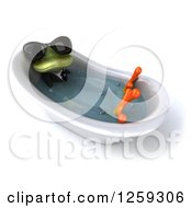 Clipart Of A 3d Green Business Springer Frog Wearing Sunglasses And Sitting In A Tub Royalty Free Illustration