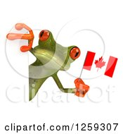 Clipart Of A 3d Green Springer Frog Holding A Canadian Flag Around A Sign Royalty Free Illustration