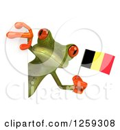 Clipart Of A 3d Green Springer Frog Holding A German Flag Around A Sign Royalty Free Illustration