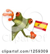 Clipart Of A 3d Green Springer Frog Holding A Spanish Flag Around A Sign Royalty Free Illustration