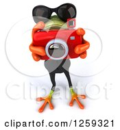 Clipart Of A 3d Green Business Springer Frog Taking Pictures Royalty Free Illustration
