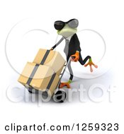 Clipart Of A 3d Green Business Springer Frog Moving Boxes On A Dolly Royalty Free Illustration