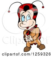 Clipart Of A Bashful Ladybug Royalty Free Vector Illustration by dero