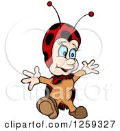 Clipart Of A Happy Ladybug Royalty Free Vector Illustration by dero