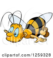Clipart Of A Blue Eyed Bee Royalty Free Vector Illustration by dero