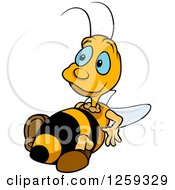 Clipart Of A Chubby Bee Resting Royalty Free Vector Illustration by dero