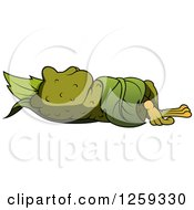 Clipart Of A Toad Sleeping In A Leaf Royalty Free Vector Illustration by dero