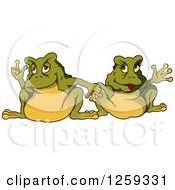 Clipart Of A Toad Couple Holding Hands Royalty Free Vector Illustration by dero