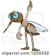 Clipart Of A Mad Mosquito Raising A Hand Royalty Free Vector Illustration by dero
