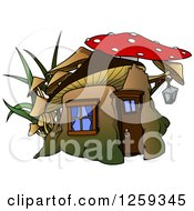 Clipart Of A Dwarf Mushroom House Royalty Free Vector Illustration by dero
