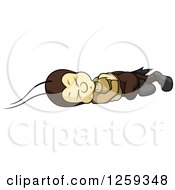 Clipart Of A Cricket Sleeping On The Ground Royalty Free Vector Illustration by dero