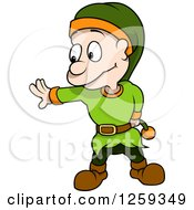 Clipart Of A Dwarf Gesturing To Stop Royalty Free Vector Illustration by dero