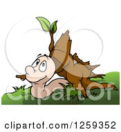 Clipart Of A Worm Under A Stump Royalty Free Vector Illustration by dero
