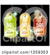 Retail Commerce Background Of Spring Summer And Fall Sale Tags Over Flares