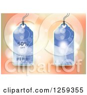Retail Commerce Background Of Blue 60 Percent Off Spring Sale Tags Over Flares