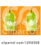 Retail Commerce Background Of Green 60 Percent Off Spring Sale Tags Over Flares