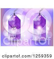 Retail Commerce Background Of Purple 60 Percent Off Spring Sale Tags Over Flares