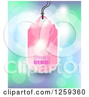 Clipart Of A Retail Commerce Background Of A Pink Spring Sale Tag Over Flares Royalty Free Vector Illustration by creativeapril