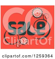 Retail Commerce Background Of Floral Vine With Sale Text On Red